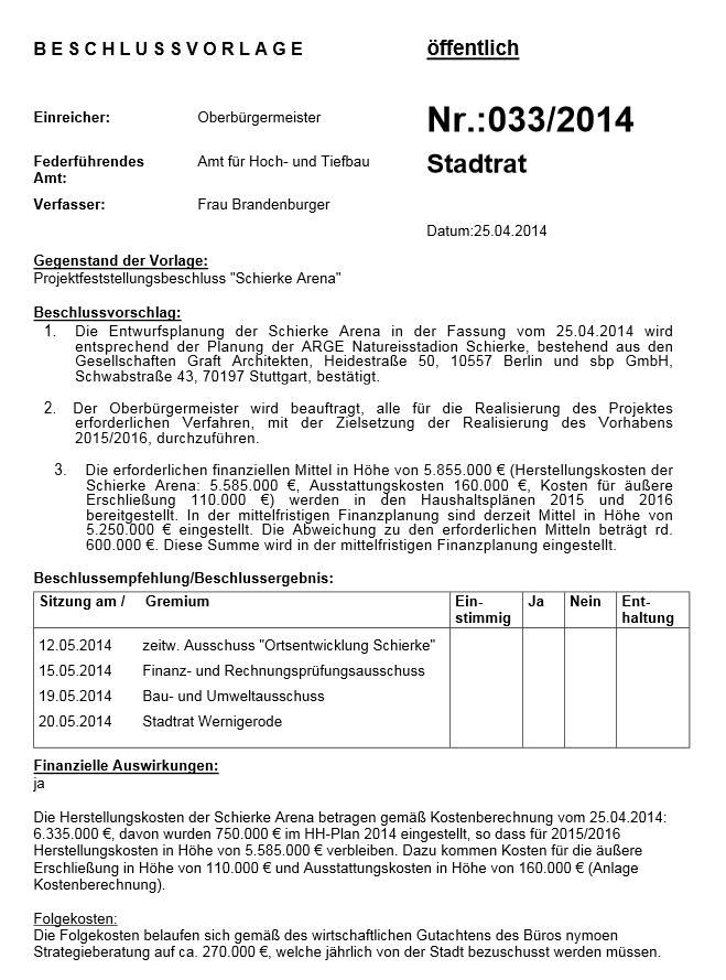Beschlussvorlage Schierke-Arena