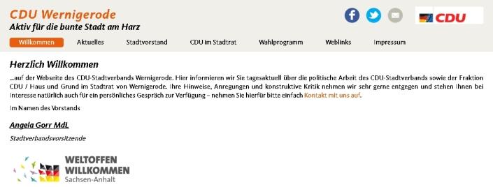 Startseite der CDU Wernigerode